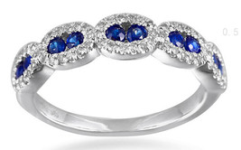Solid 14K White Gold Real 0.28CT Blue Sapphire Color Diamond Band Fine Ring - $1,340.46