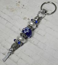 Murano Rhinestone Beaded Handmade Split Ring Keychain Hook Blue White Si... - $19.39
