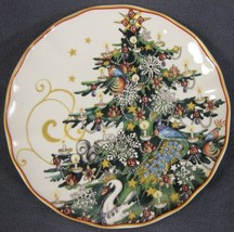Williams-Sonoma Twas The Night Before Christmas Salad Plate Tree Gold Trim - $27.95