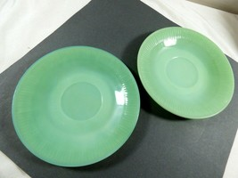set of 2 Oven Ware Fire King Jadeite Jane Ray saucer green ribbed dinner... - $59.40