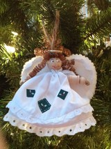 Christmas Ornaent Angel Girl Wood Cloth Hand Crafted - $9.85