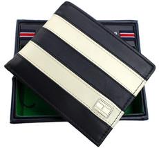 Tommy Hilfiger Men's Leather Wallet Passcase Billfold Navy Bone 31TL22X040
