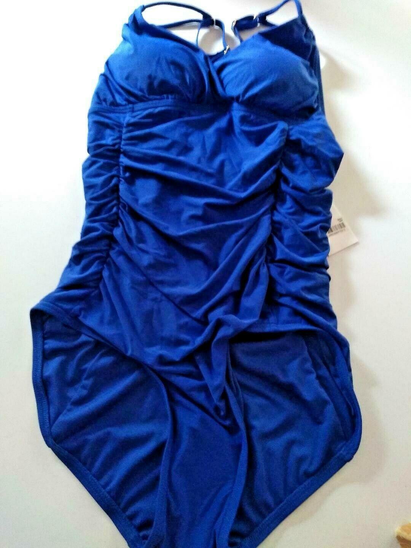 Calvin Klein Liquid Touch Fabric 4 Way Stretch Blue One Piece Swim Wear Size 6