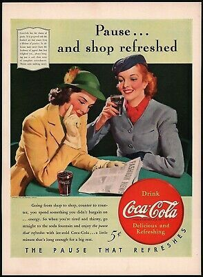 Primary image for Vintage magazine ad COCA COLA 1940 Pause and Shop Refreshed 2 women pictured