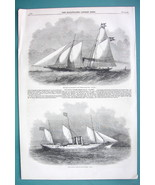 1858 Woodcut Engraving - EGYPT Pacha's  and Denmark's Royal Yachts - $11.10