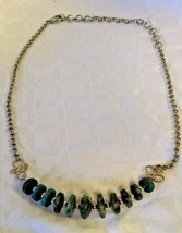 "Vintage Green Turquoise Stone Bead Choker Necklace 18"" Adjustable Clasp ... - $9.89"
