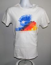 Mens Oakley T Shirt Small Regular Fit White Blue Orange Yellow Wave Surfer - $14.77