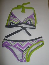 BCA Chevron Stripe Bikini Top & Bottoms Multicolor Gray Purple Lime Whit... - $410,63 MXN