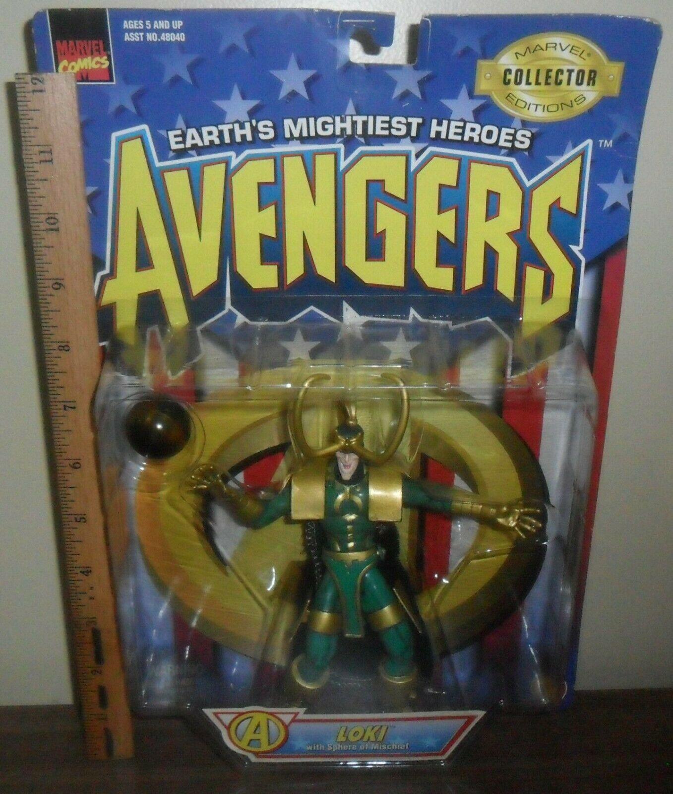 1997 Toy Biz Marvel Comics Avengers Action Figure ~ Loki with Sphere of Mischief