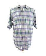 Orvis Purple Plaid Short Sleeve Button Front Shirt Mens Sz L - $24.09