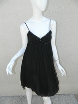 FREE PEOPLE INITIMATELY  DRESS  BLACK TULLE SEQUINS CHEMISE Sz 2 - $23.24