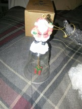 AVON GIFT COLLECTION HOLIDAY GLASS BELL ORNAMENT SANTA NIB 1996 - $9.85