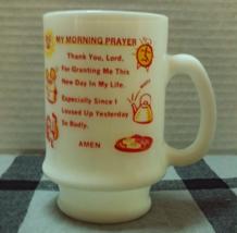 "Vintage ""My Morning Prayer"" Milk Glass Coffee Mug Religious Humerous Dev... - $9.00"