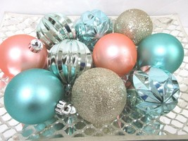 "10 Coastal Beach Nautical Christmas Peach Aqua Glitter Ball Ornaments 2.5"" - $16.99"