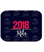 PERSONALIZED 2018 CALENDAR MOUSE PAD COMPUTER PC NAVY HOT PINK - $12.72