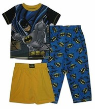BATMAN Boy's 4-7 Pajamas 3-Piece Set Short Sleeve Top Pants Shorts Sleepwear NEW