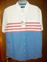 New Men's Chaps Short Sleeve Button Up American Flag Them Shirt Sz Med Lead - $29.35