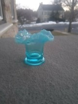 HTF Fenton Blue Opalescent Miniature Vase mini 1.75 inches tall - $44.99