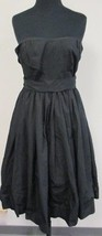 J. CREW Black Cotton Lined Strapless Formal Evening Dress W Pleats Size ... - $19.94