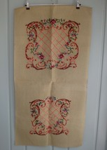 Preworked Vintage Needlepoint Tapestry Floral Antique Canvas Hand Worked... - $135.44