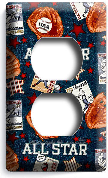 BASEBALL VINTAGE ALL STAR OUTLET POWER WALL PLATE COVER BOYS BEDROOM ROOM DECOR