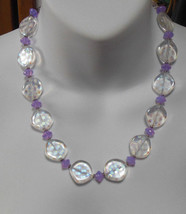 Clear/Purple Art Glass Bead Disk Necklace  - $22.76