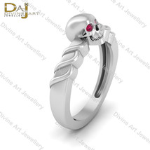 Death's Head Skull Gothic Engagement Ring Pink Diamond Eyes Skull Ring F... - £88.90 GBP