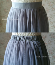 GRAY Tulle Midi Skirt High Waisted Bridesmaid Tulle Skirt Plus Size Gray Wedding image 10