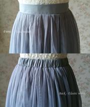 GRAY Tulle Midi Skirt High Waisted Bridesmaid Tulle Skirt Plus Size Gray Wedding image 9