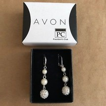 AVON President's Club Pearlesque Earrings Dangle Leverback 2011 ball orb - $12.50