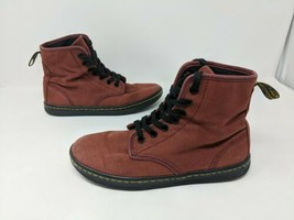 Dr. Doc Martens Shoreditch Red Canvas Boots Shoes Womens Euro 37 US L 6 ... - $29.69