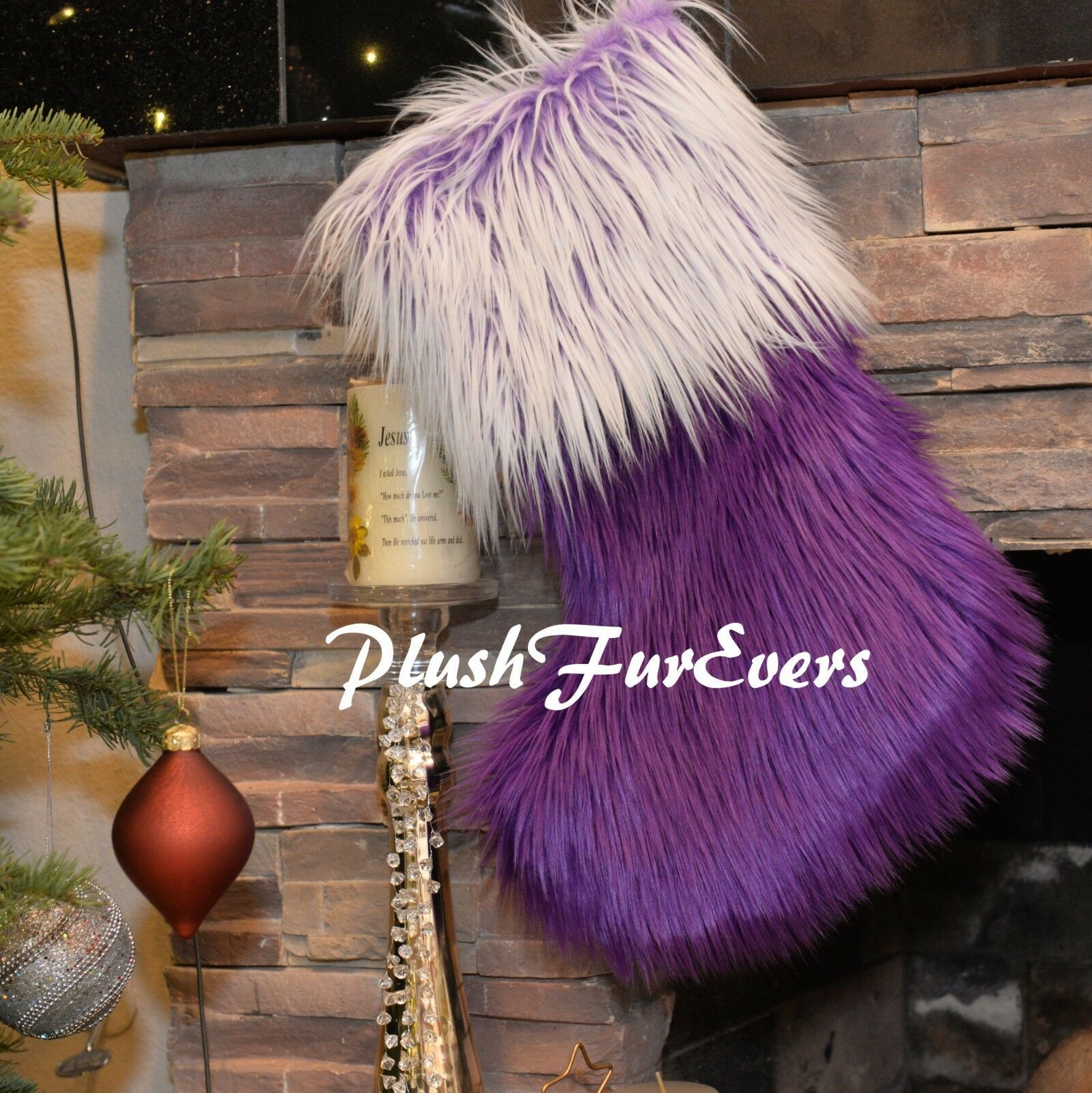 Primary image for Sheepskin Stocking/ Faux Fur Christmas Decor/ Handmade USA PlushFurEver Accents