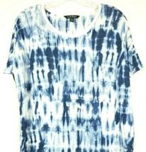 Lauren Ralph Lauren Womens Top Linen Blue White Tie Dye Linen Size Medium - $24.74