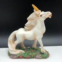 VINTAGE UNICORN FIGURINE miniature statue sculpture magic white horse st... - $15.84