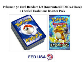 Pokemon TCG: 50 Card Lot Includes HOLOs, Rares and 1 Evolutions Booster ... - $14.99
