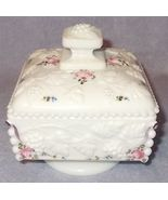 Westmoreland Milk Glass Honey and Cover Low Footed Roses and Bow 5 Inch ... - $19.95