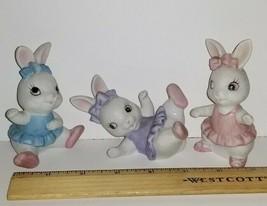 HOMCO Set of 3 White Little Girl Bunny Rabbits Playing Ballerina #1418 R... - $14.25