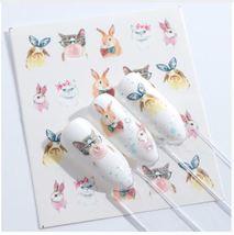 HS Store - 1pcs STZ673 Nail Stickers Water Transfer Sticker Cartoon Cute Animal  - $1.34