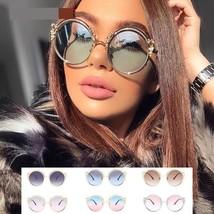 Women Sunglasses Round Alloy Frame Carved Gradient Luxury Ladies Eyewear... - $17.27
