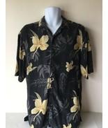 Axist Mens Shirt Button Up Size Large Black 100% Silk Hawaiian Short Sleeve - $13.85