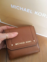 Michael Kors Medium Trifold Brown Leather Coin Case Wallet Nwt - $79.99