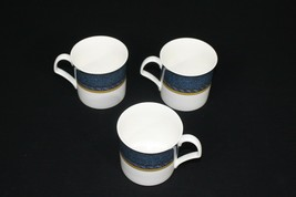 Set Of 3 Mikasa China Florentine Blue DX005 Pattern Flat Cups Only - $24.95