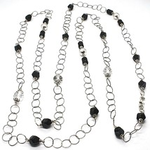 Silver 925 Necklace Black Onyx, Length 160 cm, Rolo Chain, Circles - $245.34
