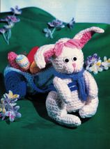 Crochet Easter Bunny Wagon Tissue Box Cover Afghan Bunnies Duckling Pattern - $6.99