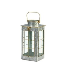 """Iron Candle Lantern Farmhouse Style w/ Gold Trim Glass Window Panes 14"""" ... - $34.60"""