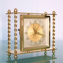 German BLESSING Vintage mantel Alarm Clock Pillar RESTORED SERVICED Mid ... - $175.00