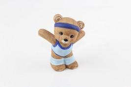 Vintage HOMCO Teddy Bear Figurine Aerobics Exercise Blue Leg Warmers 1448 - $7.92