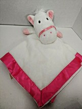 Dandee white pony horse pink satin trim baby security blanket unused lovey - $39.59