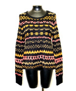 Free People Sweater Swing Throurgh The Storm Printed Black Tauqe Size XS... - $78.99