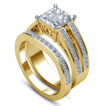 14k Yellow Gold Over 925 Silver Princess Cut White CZ Bridal Engagement ... - $84.66